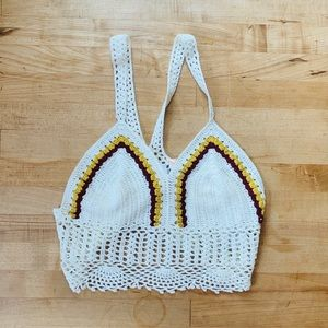 NWT Elli White Crochet Crop Top Size Small